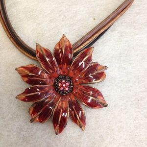 Chico's Enamel Crystal Triple Strand Necklace